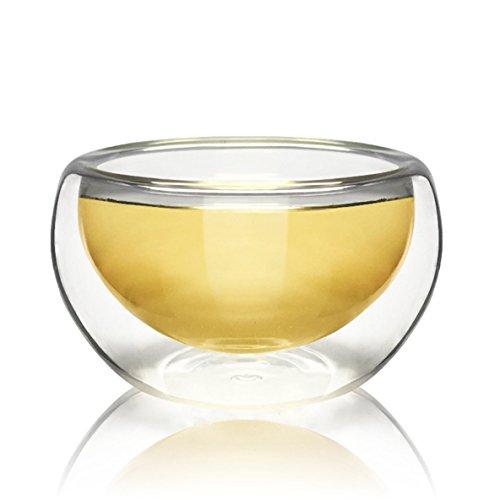 Noradtjcca 50 ML hitzebeständige Doppelschichten Glas Tee Tasse Wein Kaffeetasse Glaswaren Transparent Drink Für Zuhause Kaffeehaus