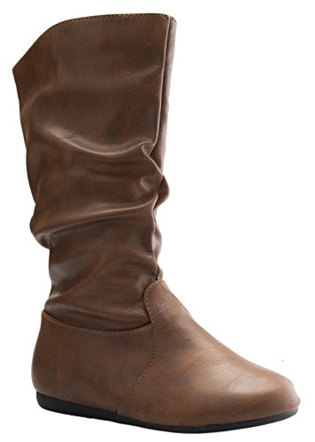 Link Girl's Mid-Calf Solid Color Flat Heel Slouch Boots