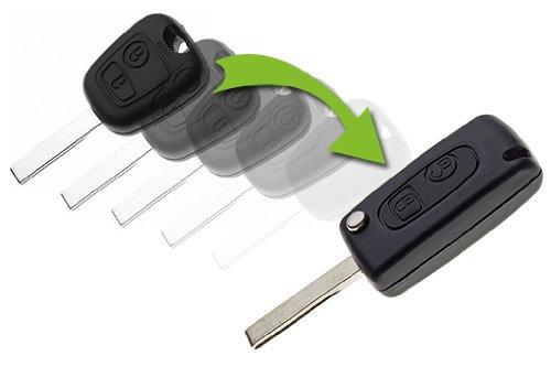 Boitier de clé Auto Ultra résistant pour Transformer Votre télécommande en télécommande à Clef Pliante. 2 Boutons Ouverture/Fermeture des Portes+1 Lame rétractable Vierge fournie