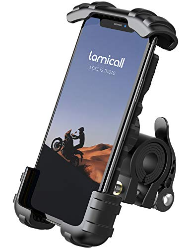 "Phone Holder Mount for Bike Handlebar - Lamicall Motocycle Cell Phone Clamp, Scooter Phone Mount for iPhone 11/ iPhone 11 Pro/ iPhone 11 Pro Max, S9, S10 and More 4.7"" - 6.8' Smartphones"