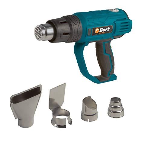 Bort Heißluftpistole BHG-2000F, 2000 Watt, 3 Heizstufen (60 °C / 60-350 °C / 60-600 °C) mit 4 Zubehörteilen, im Karton