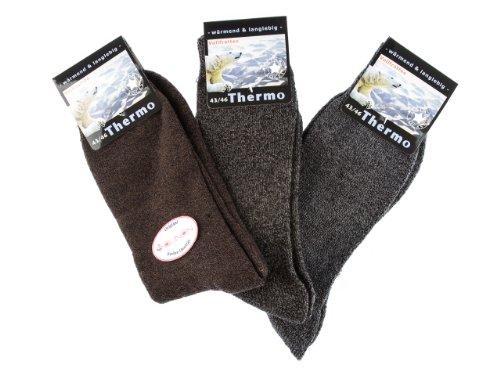 SOUNON 6 Paar Herren Thermo Socken - Vollfrottee (7525) - Original, Groesse: 39-42