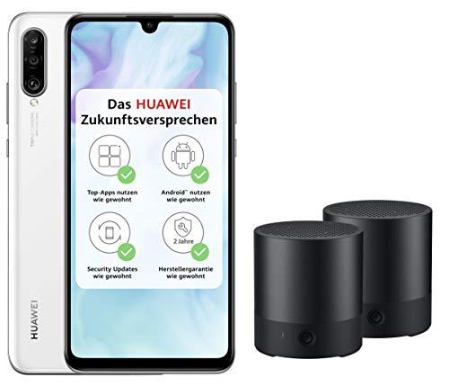 Huawei P30 lite Dual-SIM Smartphone (6,15 Zoll, 128 GB ROM, 4 GB RAM, Android 9.0) Weiß mit SD Karte [Exklusiv bei Amazon] - DE Version + 2 x Bluetooth MiniSpeaker CM510, schwarz