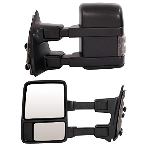 Towing Mirrors Fit For 99-07 Ford F250 F350 F450 F550 Super Duty 01-05 Excursion Pair Set Extendable Smoke Power Heated With LED Signal Light Side Mirrors