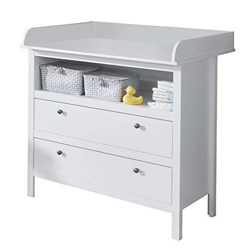 trendteam smart living Babyzimmer Wickelkommode Kommode Ole, 90 x 104 x 78 cm in Weiß mit viel Stauraum und großzügiger Wickelfläche