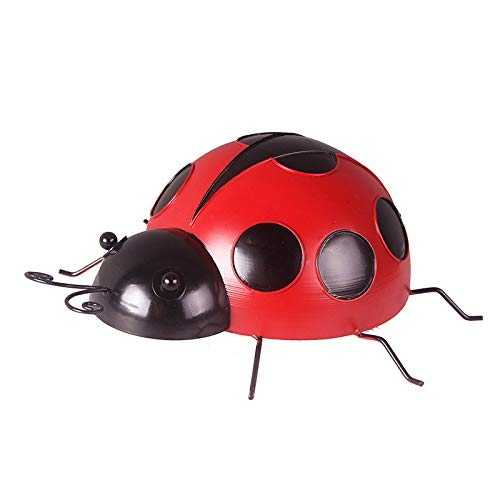 Gpure Metal Ladybug Wall Decor Wall Art Indoor Outdoor Garden Decoration Beetle Nostalgia Wall Ornament Garden Accents Yard Fence 3D Sculpture Ornaments Lawn Bar Bedroom Living Room Wall Hanging