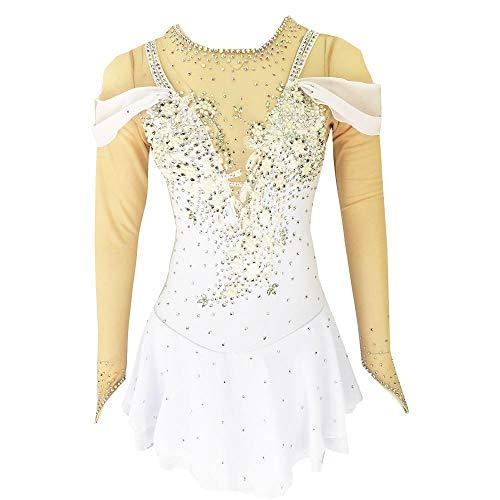 LWQ Skating-Kleid, Frauen-Mädchen Eislauf-Kleid-Weiß-geöffnete zurück Spandex hohe Elastizität Strass Langarm Eislaufen Eiskunstlauf,Child 14
