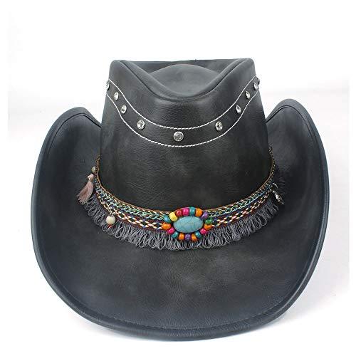 Gorra de Cuero Hecha a Mano Hombres Mujeres Sombrero de Cuero de Vaquero Occidental con Cinta de Borla Sombrero de ala Ancha de Invierno Talla 58-59 cm Negro Autumn Fashion