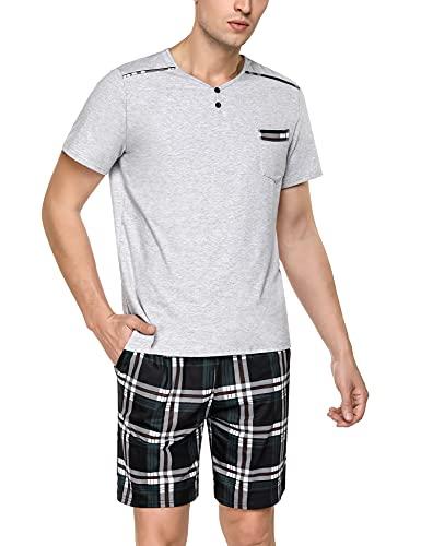 Doaraha Pijamas Cortos Hombre Verano Pijama a Cuadros Algodón Ropa de Dormir Manga Corta Camiseta y Pantalones Cortos Suave y Cómodo 2 Piezas (1292# Gris Claro, XXL)