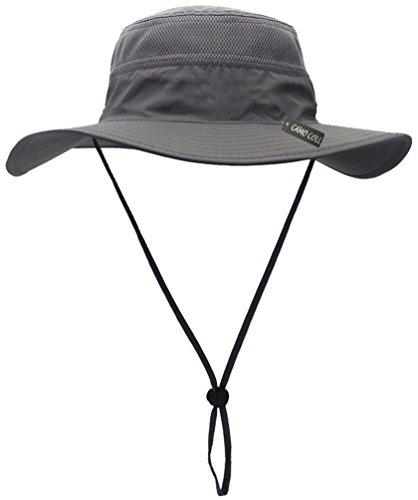 CAMO COLL Outdoor Sun Cap Camouflage Bucket Mesh Boonie Hat (Grey, One Size)