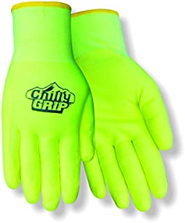 Red Steer Chilly Grip Water Resistant A319-L Hi-Vis Yellow Heavyweight Thermal Lined Full-Fingered Work and General Purpose Gloves [PRICE is per PAIR] (Large)