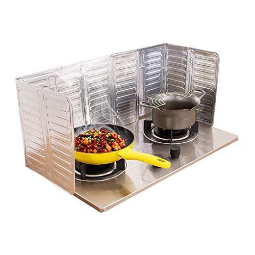 2Pcs Disposable Oil Splash Guard Aluminum Foil Gas Stove Oil Splatter Screen Board Cooking Frying Oil-Proof Splash Kitchen Tool (Silver)