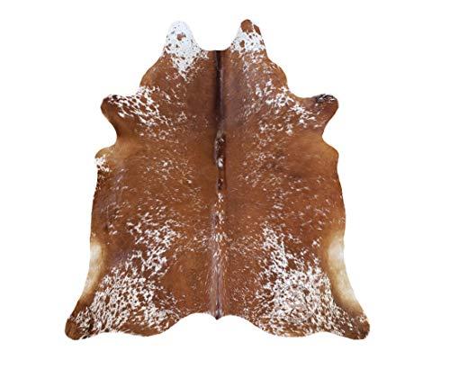 Koeienhuid Tapijt, Bruin en wit zout en pepe 220 x 200 cm, Premium kwaliteit van Pieles del Sol uit Spanje