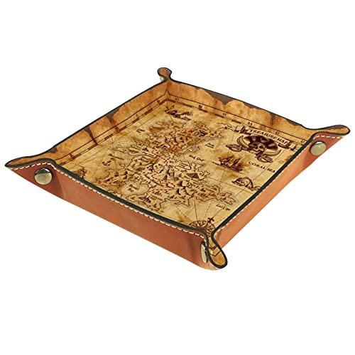 YATELI Caja de Almacenamiento pequeña, Bandeja de Valet para Hombre,Mapa del Mundo Vintage brújula Pirata,Organizador de Cuero para Llaves de Caja de Monedas