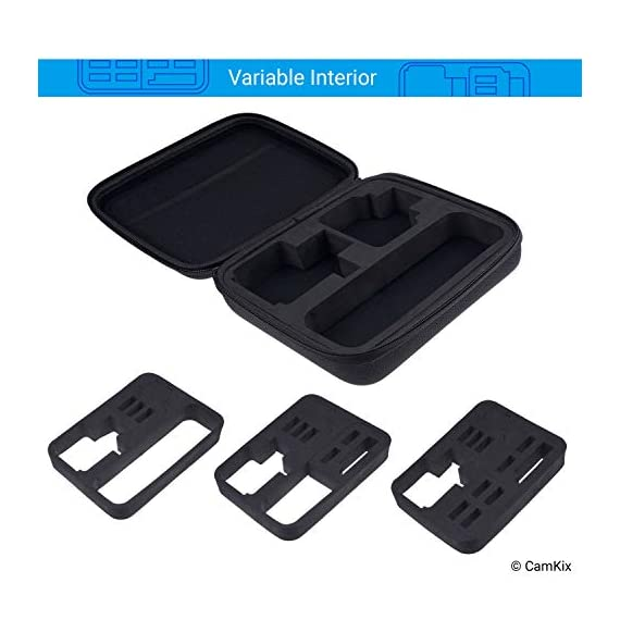 CamKix Case Compatible with GoPro Hero 7 / 6 / 5 Black - Perfect for Travel and Storage - Versatile EVA Interior with… 2 TRAVEL + STORAGE CASE: Keep your GoPro Hero 6 / 5 camera and accessories organized, dust-free and protected inside this case. Grab & Go when you're ready to shoot some spine-chilling action. Store it, when you're not. FOR GOPRO HERO 7/6/5 AND ACCESSORIES: This case is designed specifically for the GoPro Hero 5 Black camera. Tailor made, fits perfectly. The elastic mesh pocket and extra compartments are ideal to store flat mounts, quick release buckles, thumb screws, USB cable, memory cards, etc. VERSATILE INTERIOR: You can remove/add parts of the high quality EVA material to create different interior layouts for various purposes (see pictures for examples). Any interior layout you create will fit your GoPro Hero 5 camera and accessories seamlessly. The shock-absorbing padding provides extra protection to your camera and other equipment stored inside the case.