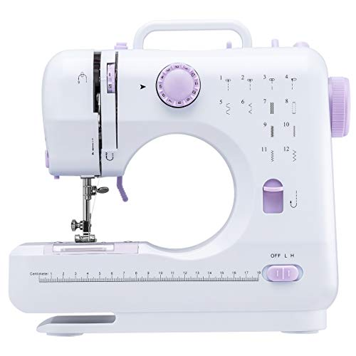 Segorts Sewing Machine Multi-Function Electric Household Sewing Machine Perfect for Beginners (White & Purple)