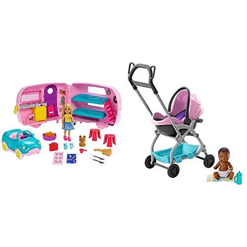 Barbie - Chelsea Muñeca y Su Caravana, con Perrito y Accesorios (Mattel FXG90) + Barbie Skipper - Cochecito con muñeco de bebé y Accesorios (Mattel FXG95) , Color/Modelo Surtido