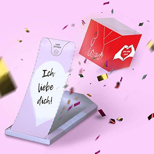 «BOOM!» Ich liebe Dich Karte - Explosion Karte mit Konfetti. Explodierende Konfetti Karte mit Wow-Effekt.