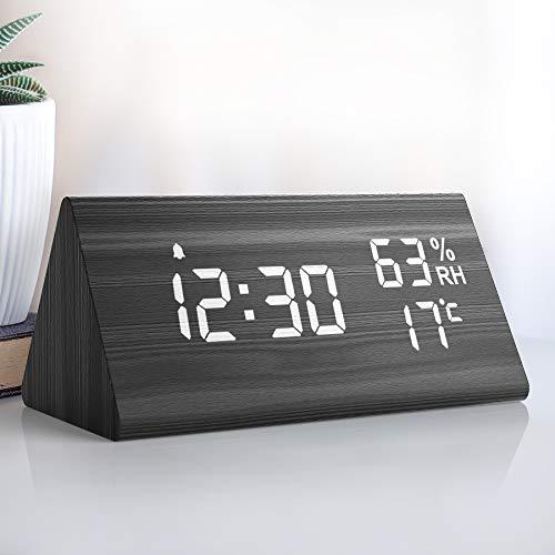 NBPOWER Wecker Digitaler LED Wecker Uhr Holz,Digitalwecker Tischuhr mit Sprachsteuerung/Snooze funktion/Datum/Temperatur und Luftfeuchtigkeit, für Zuhause, Schlafzimmer, Nacht Kinder und Büro -schwarz