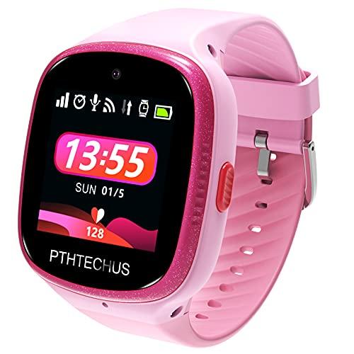 Bambini Smartwatch Impermeabile con GPS Tracker, Touch screen HD Orologio Telefono con Localizzatore GPS Chat Vocale SOS Gioco Sveglia da Polso Regalo Ragazzi Ragazze (W003-Pink)