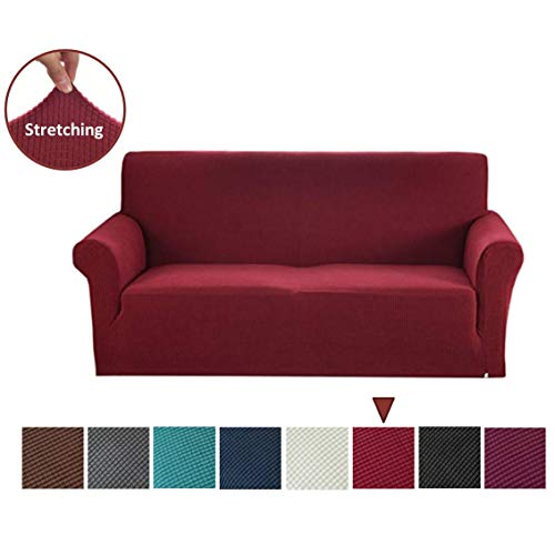 Argstar Jacquard Sofa Slipcover, Wine Red Stretch Couch Slip Cover, Spandex Furniture Protector for 3 Cushion Seater, Sofa Cover for Living Room, Machine Washable