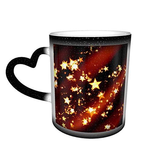 WanuigH Tazas térmicas Taza cambiante única del café mágico del Color Caliente del Calor en la Taza de cerámica del Cielo Star Christmas Christmas Decoration Christmas Card