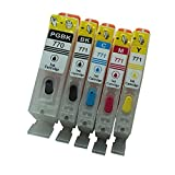 5PCS / Set PGI-770 CLI-771 Cartuchos de Tinta Recargables Impresora Canon MG5770 MG6870 con Chips de reinicio automático Compatible con Canon 770 PGI770