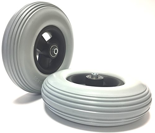 Krypton 2 Stück Rollstuhlreifen pannensicher 200 x 50 (8x2), grau, Rillenprofil, 100% pannengeschützt, Kompletträder Reifen mit Felge und Rollstuhl Kugellager, Bohrung 8 mm, Nabenlänge 60 mm