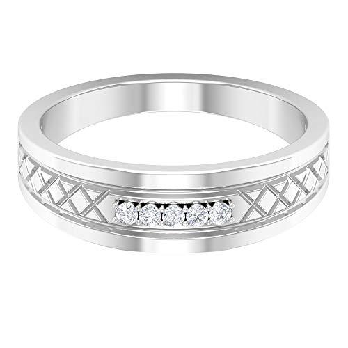 Anillo de boda vintage, anillo grabado antiguo, anillo de diamante redondo HI-SI, anillo de compromiso simple, anillo de desgaste diario, anillo de promesa, 14K Oro blanco, Diamante, Size:US 66