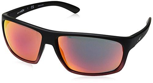 Arnette An4225 Óculos de sol masculinos retangulares Burnout, Black Red /Red Yellow Mirror, 64 mm