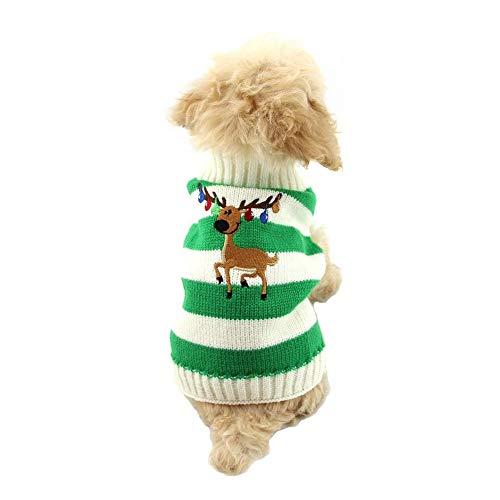 DELIFUR Cuteboom Dog Winter Reindeer Sweater Cat Sweater Pet Christmas Elk Bells Sweaters Halloween Reindeer for Small Dog and Cat (M, Green)