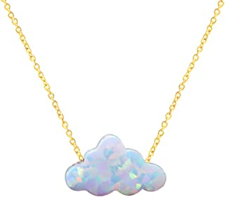 HUTINICE Small White Opal Cloud Necklace, Created Opal Choker Necklaces for Women Girl Baby Jewelry…