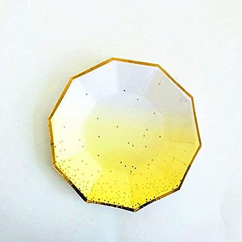 TFJJSQA Plato de papel desechable especial y simple para tarta, cumpleaños, vajilla de mesa, plato de papel, plato de fiesta, 17,7 cm, 8 platos de rosas (color: 8 platos amarillos, tamaño: 7 pulgadas)