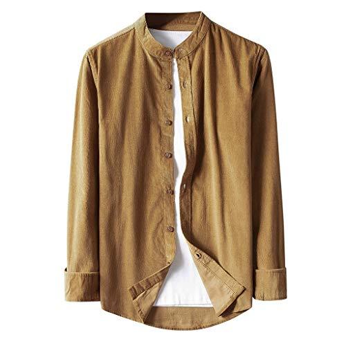 Binggong Corduroy - Camisa de manga larga para hombre, monocolor, con botones, cuello de pana y corte ajustado, Mujer, caqui, medium