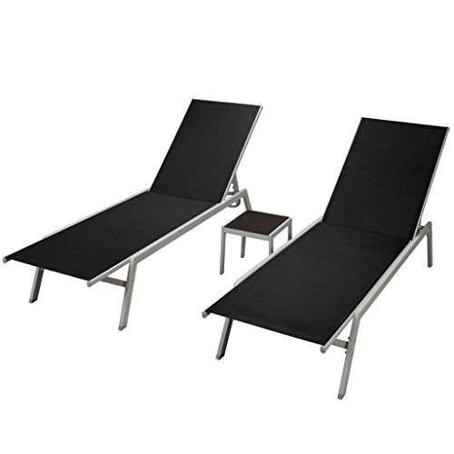 tidyard 3 pcs Chaise Longue Jardin | Bain de Soleil Textilène | Bain de Soleil Jardin avec Table Noir