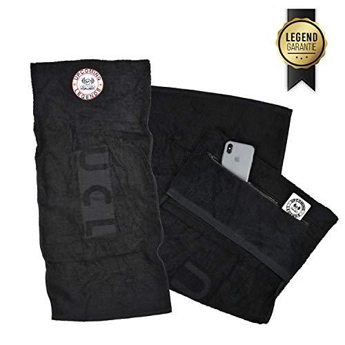 Upcoming Legends UCL Sporthandtuch mit Reißverschluss-Taschen (90cm x 40cm) Gym Handtuch | Fitness-Handtuch fürs Fitnessstudio für Damen und Herren (Schwarz)