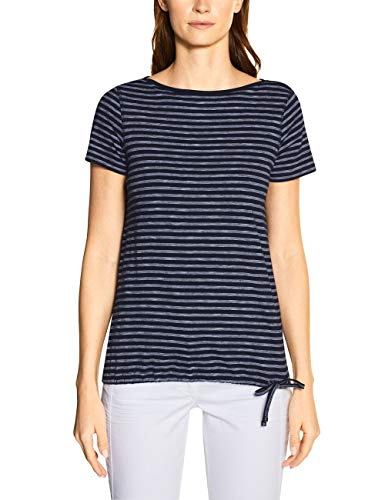 Cecil Damen 314911 Fine Stripe T-Shirt, deep Blue, Large
