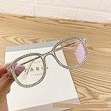 QAZXSW Occhiali Occhiali da Sole con Strass lucenti per Donna Designer di Marca Occhiali da Sole per Occhiali Occhiali da Donna Vintage Trasparenti con Lenti UV400