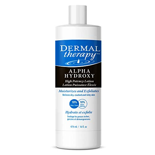 Dermal Therapy Alpha Hydroxy High Potency Lotion - Moisturizing and Exfoliating Treatment for Scaly, Flaky, Dry Skin   10% Urea and 10% Lactic Acid   16 fl. oz