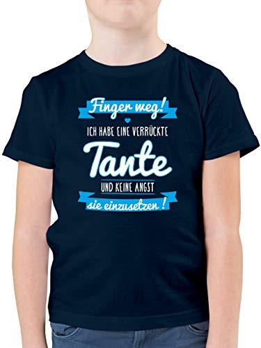 Sprüche Kind - Ich Habe eine verrückte Tante Blau - 116 (5/6 Jahre) - Dunkelblau - Geschenk neffe - F130K - Kinder Tshirts und T-Shirt für Jungen