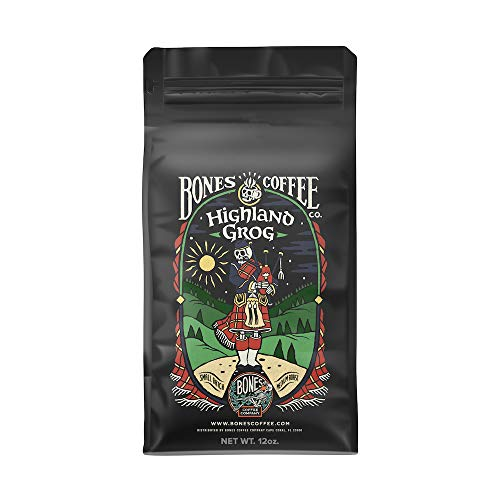 Bones Coffee Company Flavored Coffee Beans, Highland Grog Ground Coffee Beans, Low Acid Medium Roast Gourmet Coffee Beans in Rum, Butterscotch and Caramel Flavor (Ground)