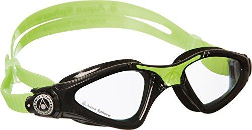 Aqua Sphere Unisex-Youth Kayenne Jr Schwimmbrille, schwarz grün/transparentes Glas, Einheitsgröße