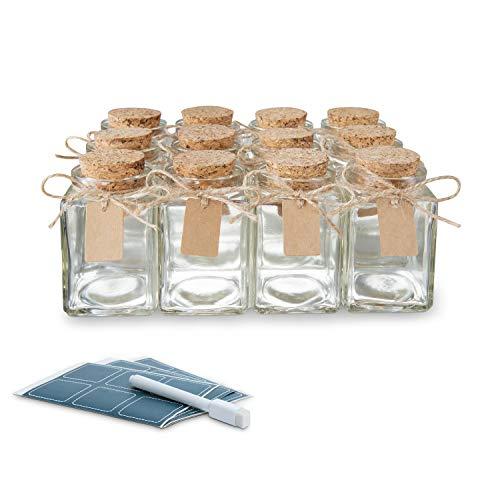 Glass Favor Jars With Cork Lids Square 3.4oz - Mason Jar Wedding Favors Apothecary Jars Bottles [12pc Bulk Set] Spices, Candy