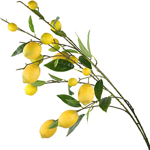 Rinlong Artificial Lemon Branches for Kitchen Party Decoration Yellow Fake Lemon Decor Farmhouse Style Home Table Centerpiece