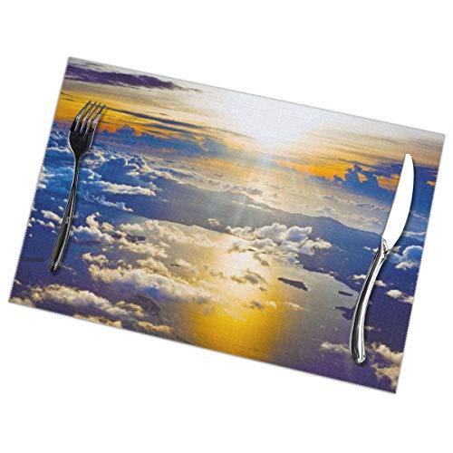 Zonsondergang Van Een Vliegtuig Behang Placemat Wasbaar Voor Keuken Diner Tafelmat, Gemakkelijk te reinigen Makkelijk Te Vouwen Plaats Mat 12x18 Inch Set Van 6