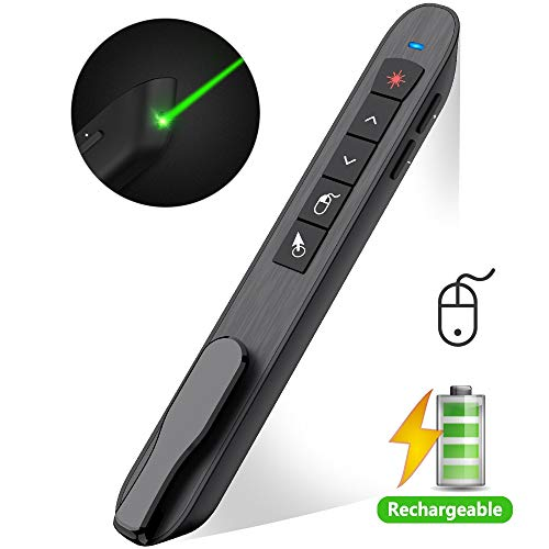 DinoFire Air Mouse Green Light Presentation Remote Control USB Rechargeable Presentation Clicker Wireless Presenter RF 2.4 GHz Powerpoint Clicker Slide Advancer Changer Pointer Mac/Laptop/Computer