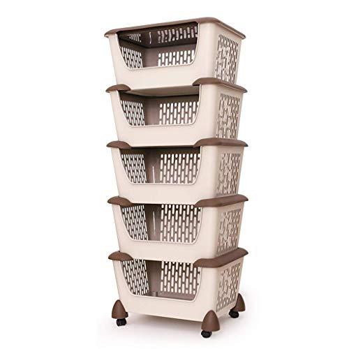 YWAWJ Cocina de almacenamiento en rack, 3/4/5-Tier ruedas de plástico de mimbre cesta de malla Estanterías, Carro con estantes en las ruedas de vehículo y de almacenamiento de la fruta del balanceo de