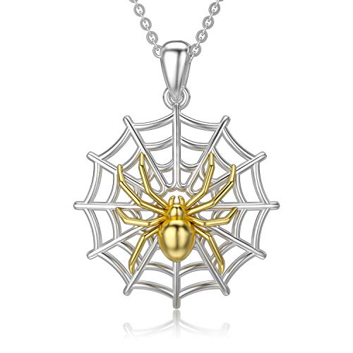 ROMANTICWORK Spider Necklace 925 Sterling Silver Spider Web Charm Pendant Animal Jewellery Birthday Gifts for Women Men Boys Girls