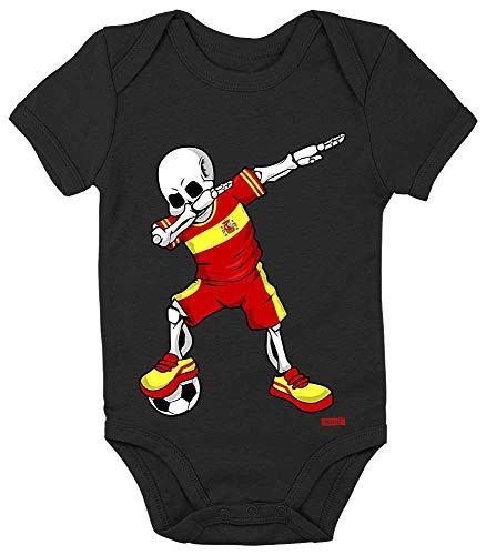 HARIZ Body de manga corta para bebé, diseño de esqueleto de España con tarjeta de regalo de pingüino, color negro, 0-3 meses