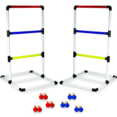 Crown Sporting Goods Indoor/Outdoor Ladderball Set with Carrying Case and Ground Anchors